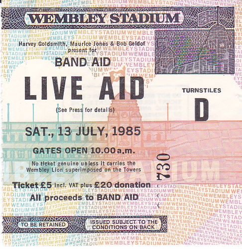 Live Aid 1985 Ticket by Steve Stachini JFK247