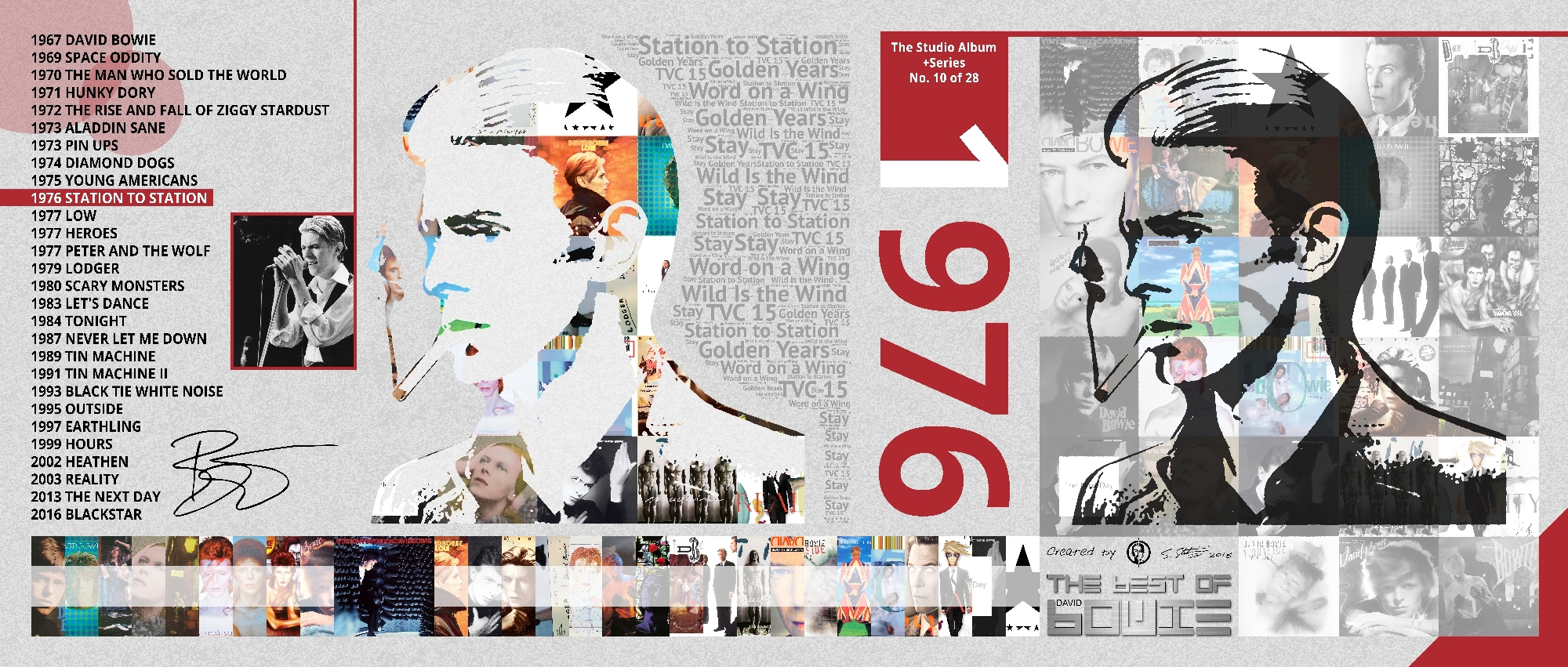 David Bowie Art Creation by Steve Stachini - 1976 Station To Station 162cm x 69cm