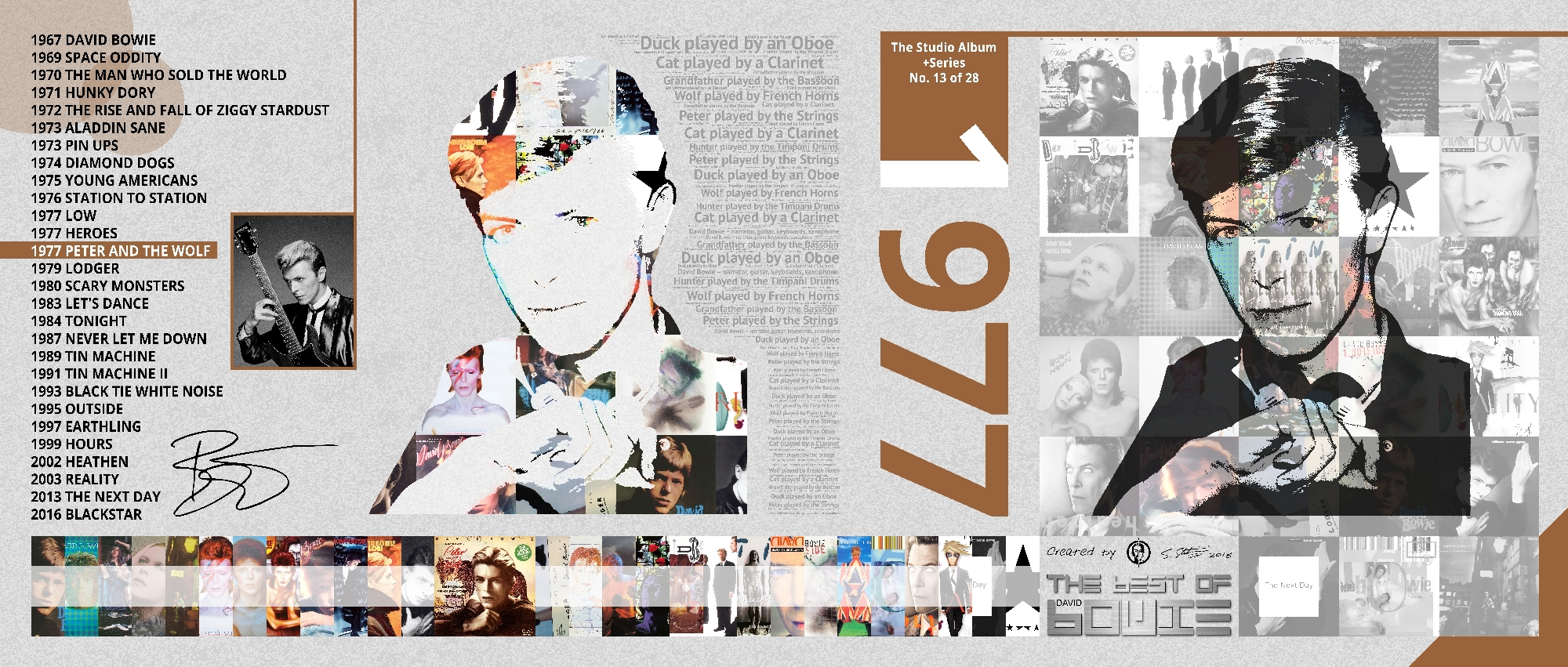 David Bowie Art Creation by Steve Stachini - 1977 Peter And The Wolf 162cm x 69cm