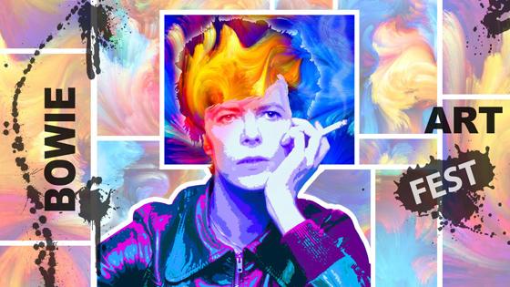 Steve Stachini David Bowie Art Image Colourful Hero set as a link to the Bowie Art Fest website.